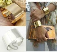 Retro Women Gold Plated Punk Cuff Bangle Wide Bracelet Fashion Women Men Jewelry