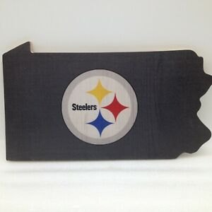 """Pittsburg Steelers Wall Hanging Sign Plaque PA State Design 12"""" Sports Fan"""