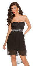 Strapless sexy clubbing summer dress Black bling belt stretch back lace 8 10 12