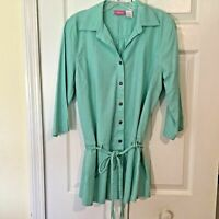 Pappagallo Top Loose Fit size Small Blue Green Linen / Rayon Tunic