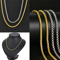 Gold Silver Plated Mens Womens Cuban Link Chain Necklace Stainless Steel Fashion