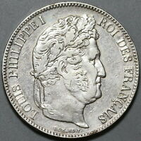 1838-W France 5 Francs Louis Philippe VF Lille Mint Silver Coin (19111505R)