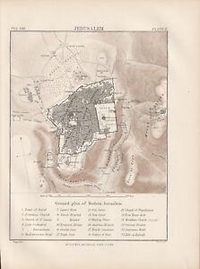 Jerusalem Ground Plan Original colour map 1875 W & A K Johnston