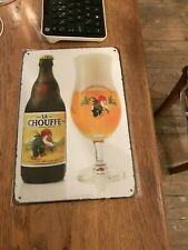 La Chouffe reclame metal beer sign new in blister brasserie d'achouffe