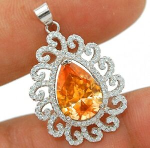 7CT Padparadscha Sapphire & Topaz 925 Solid Sterling Silver Pendant Jewelry