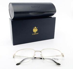 Fred Lunettes Glasses Carestan 55-18 half-Rim Eye Frame Platinum Fr + Faberge