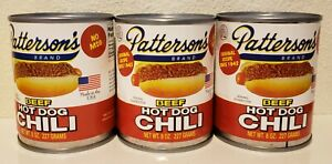 Patterson's Beef Hot Dog Chili 3 Cans 8 oz each