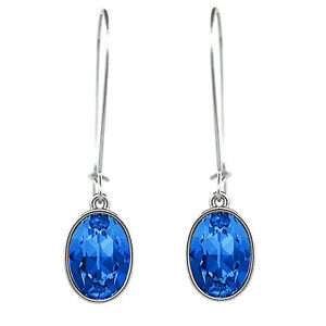 Oval Puzzle Sapphire Crystal Earrings on a Hoop made with SWAROVSKI® Crystals