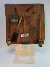 1800's HORSE HAIR HAND CRAFTED PAINT BRUSHES CORD WRAP WOOD-DISPLAY FOLK ART