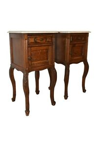 Antique Pair of French Oak Night Stands, Marble Top, 1920's