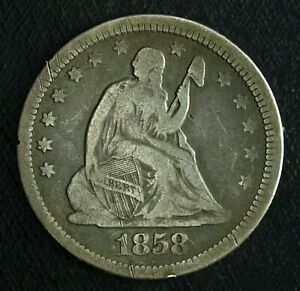 1858 P Seated Liberty Silver Quarter ☆☆ Circulated ☆☆ Great Album Filler