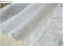 """1y Broderie Anglaise Embroidery cotton lace  White 23"""" (58.5cm) yhrose laceking"""