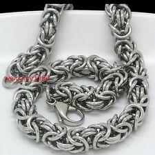 8mm 21.6'' Stainless steel Byzantine Round Link Chain Necklace Men Cool Jewelry