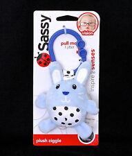 New Sassy Plush Ziggle Blue Black White Bunny Clip Hang Toy Plush Baby Toy