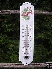 THERMOMETRE EMAILLE FRAISE JARDIN - MAISON NEUF EMAIL VERITABLE 800°C FAB FRANCE