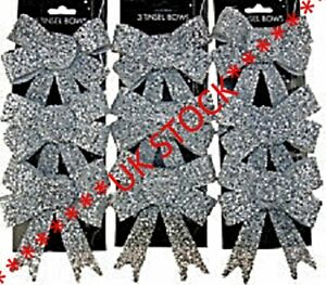9 x Premium Sparkling Tinsel Silver Bow Christmas Bows Baubles Decorations Xmas
