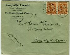 1928 Kartuzy Poland Cover Corner Card Envelope to Remscheid Germany