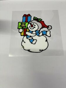 Christmas Window Stickers Xmas Snowman Removable Gel Decal Wall Home Shop Decor