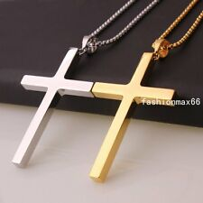 Silver/Gold Tone Stainless Steel Simple Design Big Cross Pendant Necklace Chain