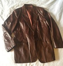 Fight Club Vtg Blazer Burgundy Leather 44 Bertini Jacket Large
