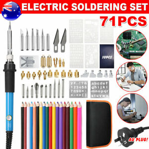 Soldering Iron Kit 60W Electronics Wood Burning Pen Tool Adjustable Temperature