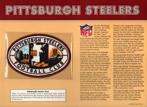 PITTSBURGH STEELERS ~ Willabee & Ward NFL GOLDEN AGE FOOTBALL PATCH & INFO CARD