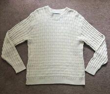 Oscar De La Renta Sweater Knit Ivory Checkered Cross Long Sleeve Size Large