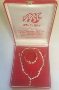 Boxed STERLING Silver Diamond Floral Necklace, Bracelet, Earrings. Turkey