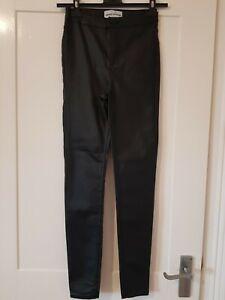 Newlook High Waiste Super Skinny Leather Look Jeans uk 8