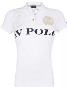 HV POLO Damen kurzarm Polo-Shirt Prints Stickereien Gr S - Weiß Neuwertig