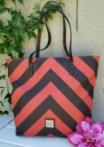 Dooney & Bourke Extra Large Chevron shopper tote shoulder bag purse coated