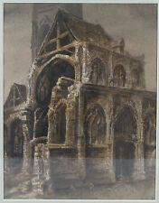 LEMARCHAND Dessin original église Saint André Rouen crayon lavis gouache