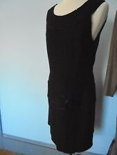 OLI Size 10 Scoop Neck Jumper sleeveless Dress Viscose & Wool Dark Gray