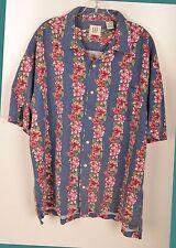 GAP Mens Hawaiian Shirt XL S/S Button Down Blue Pink Floral Striped Linen Blend