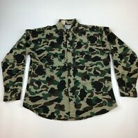 VTG Five Brothers Flannel Chamois L/S Button Up Shirt L Duck Camo Made In USA