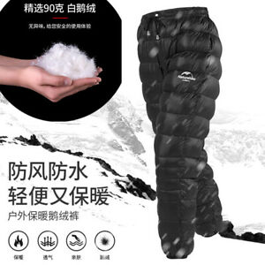 Unisex Goose Down Pants Hiking Camping Warm Insulation Compression Snow Trousers
