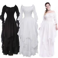 Lady Gothic Long Dress Off Shoulder Maxi Flare Sleeve Retro Evening Fairy Party