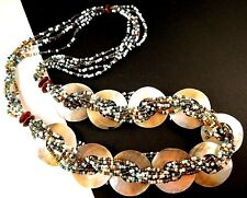 1 Multi Colour Beaded Mother of Pearl Shell Dangle Statemennt Necklace - # B81
