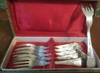 Vintage Silver Plated Set 6 Soviet Melchior Original Forks USSR