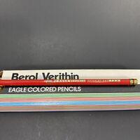 Vintage BEROL VERITHIN Eagle Colored Pencil Scarlet Red 744 Unused 8 Pencils