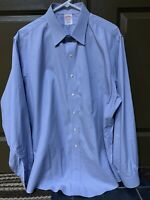 Brooks Brothers Size 17-36 Traditional Fit Blue Striped Non-Iron Dress Shirt