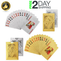 Playing Cards Gold Silver Delicate Pattern 24K Foil Waterproof Poker Card Gift