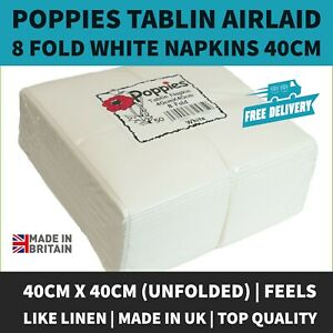 Top Quality Luxury White Tablin Airlaid Napkins - Quality Linen Feel 40cm Dinner
