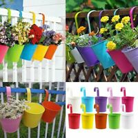 "10X 4"" Metal Flower Pots Hanging Plant Planter Color Wall Fence Balcony  -"