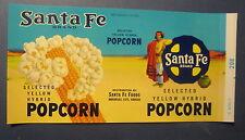 Old Vintage - c.1950's - Santa Fe Brand POPCORN CAN LABEL - Arkansas City Kansas