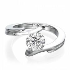 0.30 Cts F/VS1 Round Brilliant Cut Diamond Solitaire Ring In Fine 18K White Gold