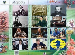 Moldova 2018, Sport, Chess Champions, sheetlet of 12v