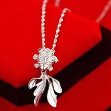 femmes plaqué argent poisson rouge pendentif collier à longue chaîne