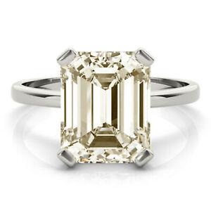 2.18+ Ct Emerald Near White Moissanite Diamond Engagement 925 Silver Ring