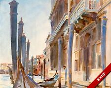 THE GRAND CANAL VENICE ITALY GONDOLA WATERCOLOR PAINTING ART REAL CANVAS PRINT